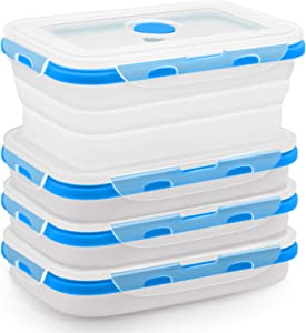 Finestep Silicone Food Storage Containers with Airtight Plastic Lids - Set of 4 Small and Large Collapsible Meal Prep Container for Kitchen or Lunch Boxes - Microwave and Freezer Safe