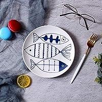 ShiSyan プレート クリエイティブセットのケーキプレート北欧西洋ステーキプレートセラミックディッシュ食器レストラン朝食プレート浅い皿三魚8インチ 電子レンジ・食洗機対応