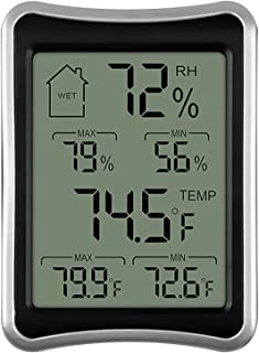Digital Indoor Thermometer and Hygrometer with Temperature Humidity Gauge Monitor for Home, Office, Indoor Garden,Black