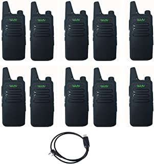 10PCS WLN KD-C1 Walkie 16 Channel Talkie Ham Radio UHF 400-470 MHz MINI-handheld Transceiver Two Way Radio Communicator+1PCS Programming Cable