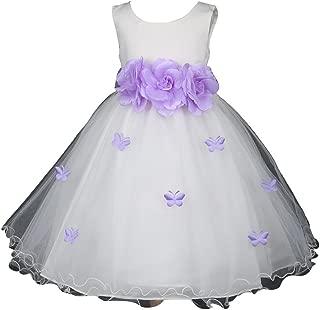 Pink Promise Ivory Flower Girl Wedding Easter Ruffled Tulle Butterfly Petal Dress