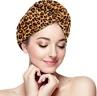 YoulerTexls Leopard Print Animal Skin Microfiber Hair Towel Wrap for Women,Super Absorbent Quick Dry Hair Turban for Drying Curly