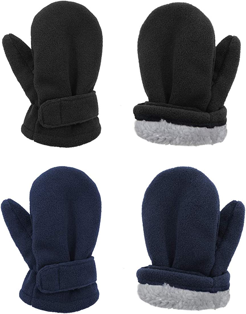 Durio Toddler Mittens Sherpa Baby Boy and Girl Unisex Gloves Kids and Baby Lined Fleece Winter Mittens 2 Pack
