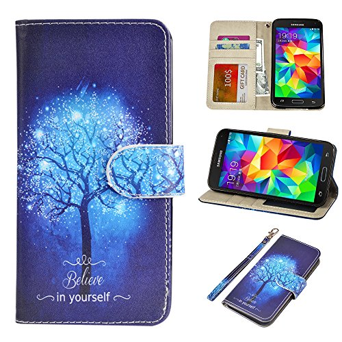 S5 Case, UrSpeedtekLive Galaxy S5 Wallet Case, Premium PU Leather Wristlet Flip Case Cover with Card Slots & Stand Compatible Samsung Galaxy S5, Believe in Yourself
