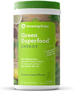 Amazing Grass Green Superfood Energy: Super Greens Powder & Plant Based Caffeine with Matcha Green Tea, Lemon Lime, 60 Ser...