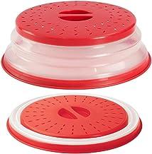 Aranticy - 2 piezas de plástico plegable para microondas y platos de cocina con rejillas de ventilación de vapor para frutas y verduras, sin BAP y no tóxica herramienta de cocina (rojo)