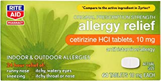 Rite Aid 24 Hour Allergy Relief with Cetirizine HCI Tablets, 10 mg - 60 Count | Allergy Medicine for Indoor & Outdoor Alle...