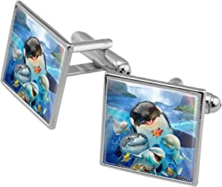 Niagara Falls New York Canada Selfie Orca Shark Dolphin Square Cufflink Set - Silver or Gold