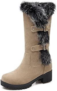 WeiPoot Womens Imitated Suede Pull-On Solid Kitten-Heels Round Closed Toe Boots, Beige-Platform, 37