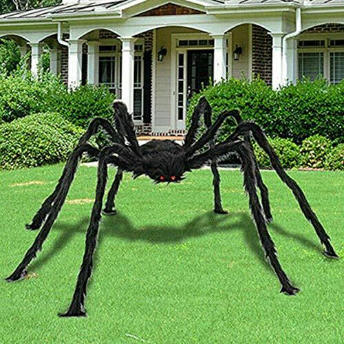 ConPush 150cm Riesen Spinne Tarantula Plüsch Schwarz Halloween Deko Geisterhaus Horror