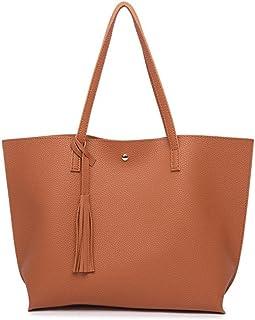 b5c7c52672b0 Nodykka Women Tote Bags Top Handle Satchel Handbags PU Pebbled Leather  Tassel Shoulder Purse
