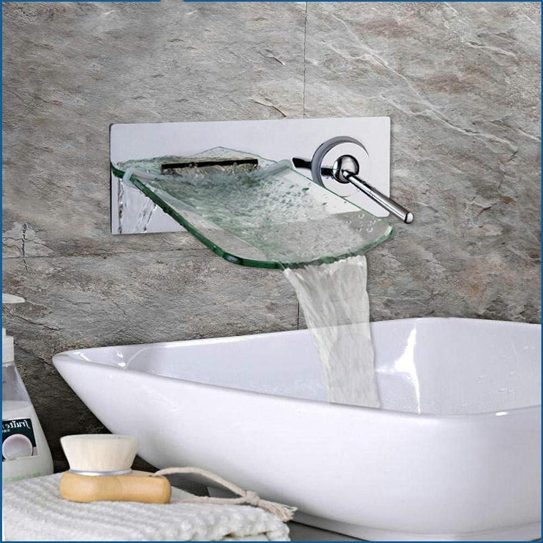 LLLYZZ Wandmontage Wasserfall Glas Auslauf Kristall Diamant Griff Messing Verchromt Bad Wasserhahn Einhebelmischer