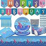 62pcs Juego de Suministros de Fiesta de Blue's Clues para niños, Accesorio de Decoración Fiesta de Cumpleaños con Platos Servilletas Pancarta Vasos y Mantel Resistente para 10 Invitados