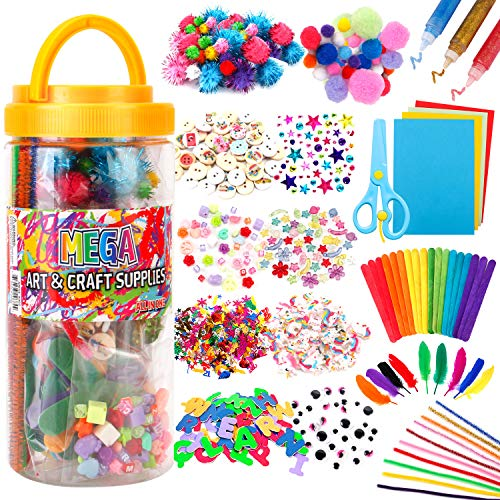 Mega Kids Art Supplies Jar – Over 700 Pieces of Colorful and Creative Arts and Crafts Materials - Glue, Safety Scissors, Pompoms, Popsicle Sticks, Pipe Cleaners and Loads More - (X Large)
