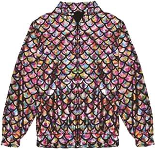 DigitalSpot Ladies Long Sleeve Metallic Fishscale Jacket Womens Fancy Party Wear Zip Up Coat