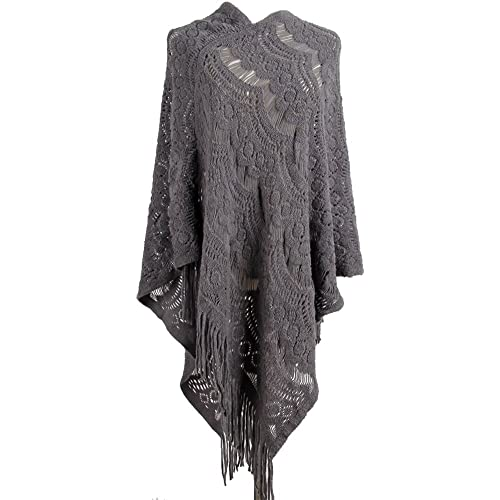 c830c2e6ab1 QZUnique Women s Sweater Cape Pullover Lace Shawl Tassels Knit Poncho-Like  Wrap