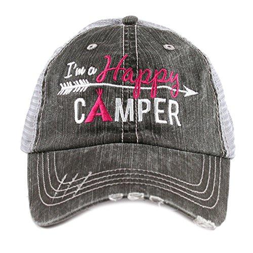 KATYDID Happy Camper Women's Trucker Baseball Hat - Trucker Hat for Women - Stylish Cute Ball Cap (Hot Pink)