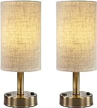 DEEPLITE USB Table Lamp for Living Room, Bedroom, Bedside Nightstand Lamp with 2A Charging Port, Bronze Metal Base (Set of 2)