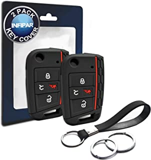 2pcs Compatible with Volkswagen VW Flip 4 Buttons Black Silicone FOB Key Case Cover Protector Keyless Remote Holder for 2019 2018 2017 2016 2015 Volkswagen VW Golf Polo Tiguan Atlas, Not Fit GTI