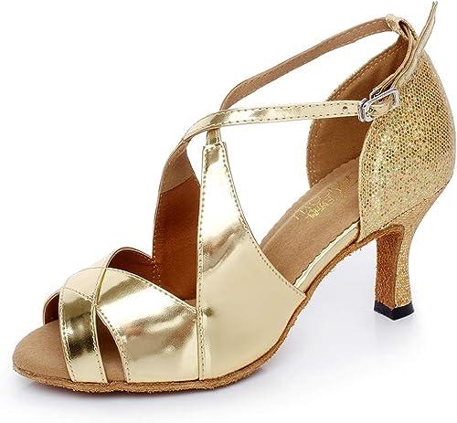 XIAOY Paillettes PU Cuir Cross Sangle Sangle Femme Chaussures de Danse Latine Haut Bas Milieu Haute Talon  100% de contre-garantie authentique