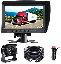 Wired AHD Backup Camera Monitor Kit for Truck/Semi-Trailer/Box Truck/RV/Camper/Bus/Van/Farm Mach/Motorhome/5th Wheel, HD 7Inch Digital TFT Monitor + 960P Mini Camera, Powered by Cigarette Lighter