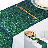ShinyBeauty Iridescent Green Table Runner 2 Packs 12''x72'' Sequin Table Runners Sparkly Table Cover Overlay 72 Inches Sequence Fabric Table Cloth Runner for Party Graduation Engagement Decoration