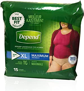 Depend FIT-FLEX Incontinence Underwear for Women, Maximum Absorbency, XL, 15 Count (pack of 2)
