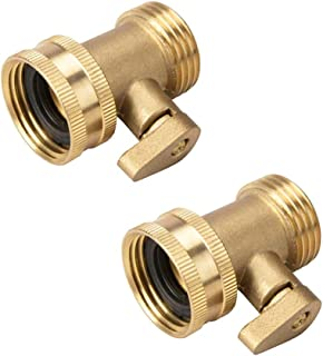 2 Pack Garden Hose Brass Shut Off Valve, 3/4'' Thread Heavy Duty Water Hose Connector Shutoff Ball Valve Faucet Hose Adapter