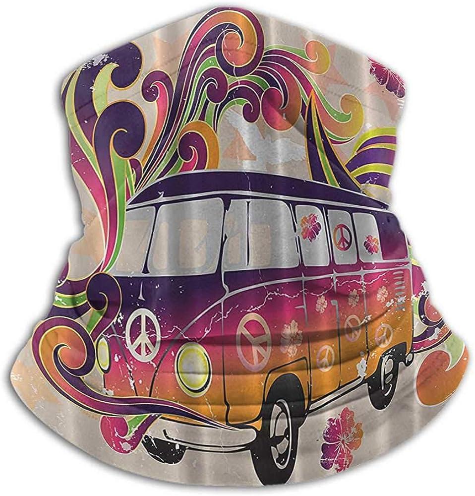 Face Bandana Boho Decor Peace Van Funny Minivan Caravan Hippie Hippy Bohemian Cute Minivan Peace Sign Symbol Emblem Paisley Cold Weather Face Motorcycle Scarf Beige Purple Orange Yellow Black