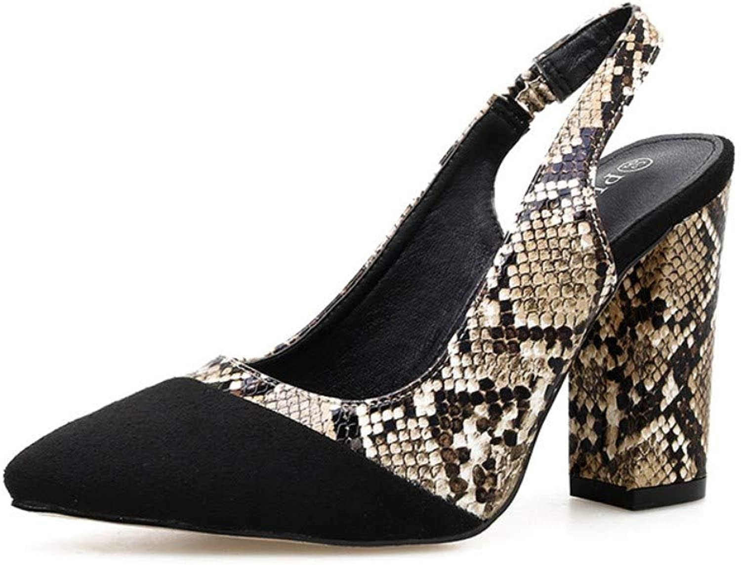 JQfashion Sexy Spring and Summer Women's shoes with Thick Heels and Sharp Serpentine Pattern