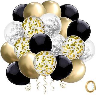 Ballon Or Noir Argent SKYIOL Helium Ballon 30cm Confettis Chrome Métallisé Ballons en Latex avec 10m Ruban de Ballon pour ...