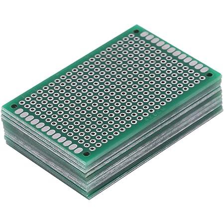 5x7 cm 432 agujeros Protoboard de circuito impreso universal de doble cara esta/ñado para proyecto electr/ónico de soldadura DIY Kit de prototipo de placa PCB de doble cara de 10 piezas