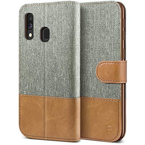 BEZ Handyhülle für Samsung Galaxy A40 Hülle, Tasche Kompatibel für Samsung Galaxy A40, Schutzhüllen aus Klappetui mit Kreditkartenhaltern, Ständer, Magnetverschluss, Grau