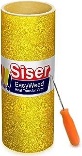 Siser Glitter Gold Easyweed Heat Transfer Craft Vinyl Roll Including Stainless Steel Weeding Tool (5ft x 10