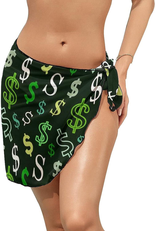 JINJUELS Women Beach Wrap Skirt Chiffon Sarong Pareo Swimsuit Bikini Cover Ups US Dollar Green