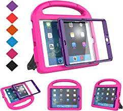 BMOUO Case for iPad Mini 1 2 3 - Built-in Screen Protector, Shockproof Lightweight Hard Cover Handle Stand Kids Case for iPad Mini 1st 2nd 3rd Generation, Rose Purple