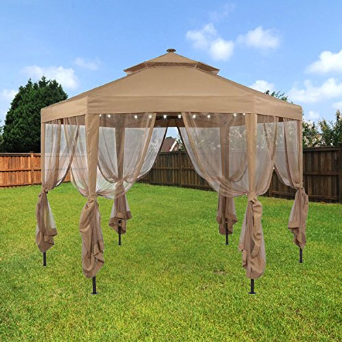 Garden Winds Replacement Canopy for The Hampton Bay Solar Hexagon Gazebo - Standard 350 - Beige