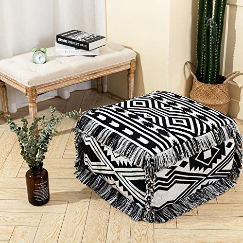 Boho Unstuffed Pouf Cover for Bedroom Living Room, Modern Cotton Woven Pouf Ottoman Foot Rest Stool with Fringe Tassel, Black White Geometric Contemporary Farmhouse Large Square Pouf 21'x21'x12'