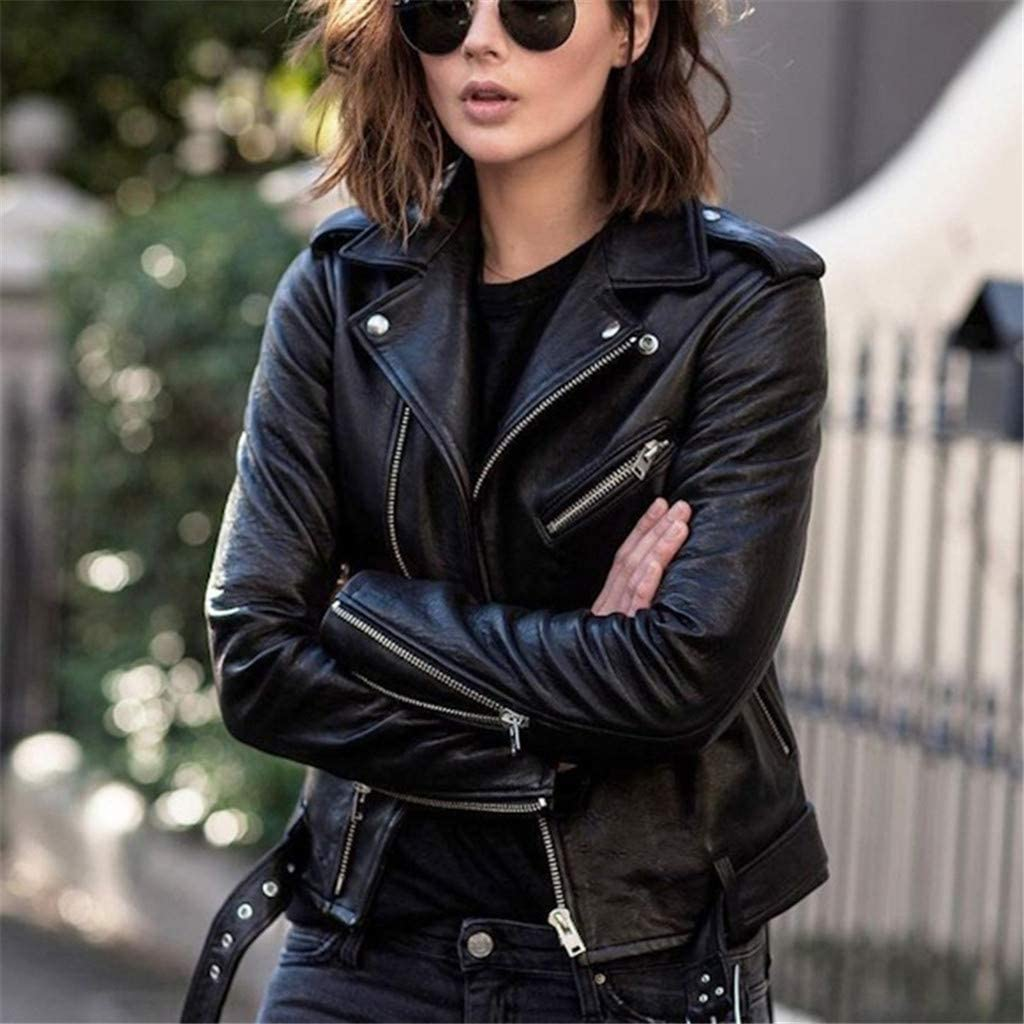 Xinantime Women Faux Leather Jacket Zipper Up Lapel Coat Long Sleeve Motorcycle Solid Color Cropped Jacket Fall Button Tunic