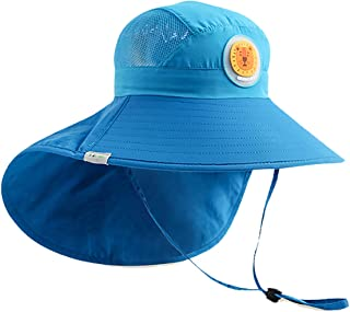 OZ SMART Kids Sun Hat, UPF 50 +, UV Protection Front and Rear Extended Wide Brim with Neck Flap Chin-Strap Adjustable for ...