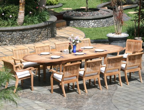 """Big Sale Best Cheap Deals New 11 Pc Luxurious Grade-A Teak Dining Set - Large 117"""" Oval Table and 10 Stacking Arbor Arm Chairs"""