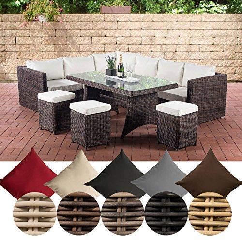 CLP Polyrattan Essgruppe Sorano | Komplett-Set: 1 Eckbank, 3 Hocker, 3er Sofa, 1 Tisch erhältlich, Farbe:braun-meliert, Polsterfarbe:Cremeweiß