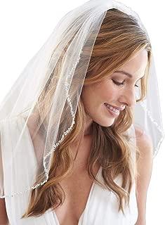 Fneghuavip Short Wedding Veil Fingertip Length Beaded Edge for Bride with Comb