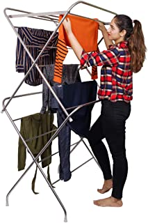 PARASNATH Prime Stainless Steel 12 Rods Large Foldable Cloth Dryer/Clothes Drying Stand - Made in India