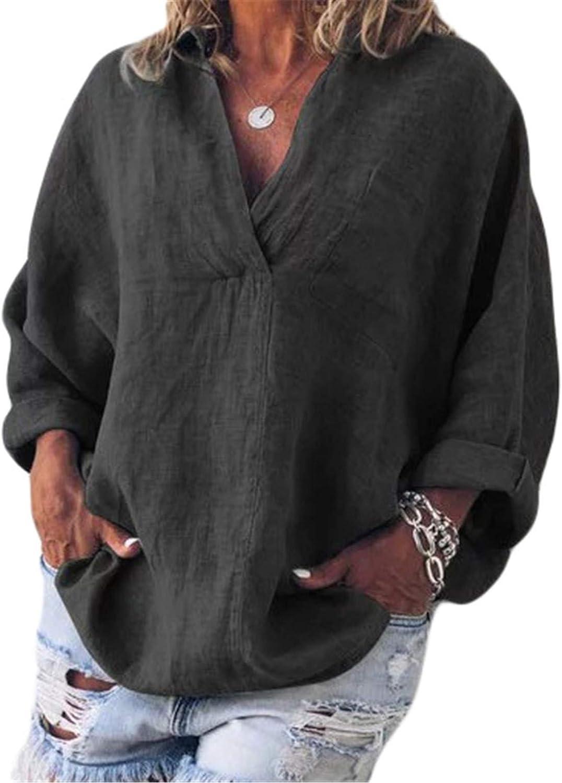 Andongnywell Women's Atlanta Mall V-Neck Blouse T-Shirt Casual Shi OFFicial site Loose Tops