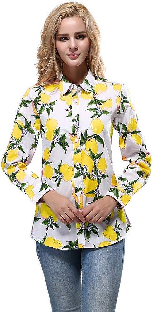 Women's Hawaiian Fruit Printed Blouse Cotton Button Down Shirts