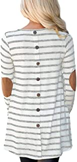 For G and PL Women Stripe Elbow Patch Button Down Back Tunic Tops