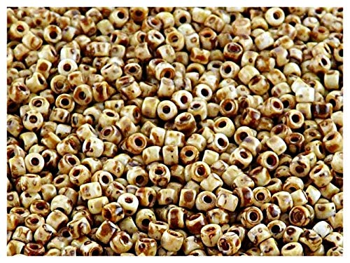 8/0 10gr Matubo Bead - Perles de verre pressé tchèque, Rocailles 3 mm, Chalk Travertin Dark