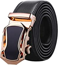 Men's Leather Belt Automatic Buckle Business Belt Black And Brown. Casual (Color : Brown, Size : 120cm)