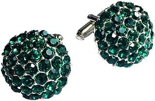 Clinks Cufflinks Mens Crystal Cluster Cufflinks - Emerald Green